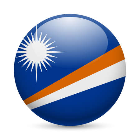 micronesia: Flag of Marshall Islands as round glossy icon. Button with flag design Illustration