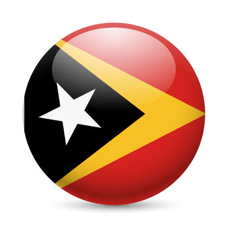 Flag of East Timor as round glossy icon. Button with flag design Stock Vector - 29186370