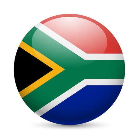 Drapeau de l'Afrique du Sud ronde icône sur papier glacé. Bouton avec la conception de drapeau