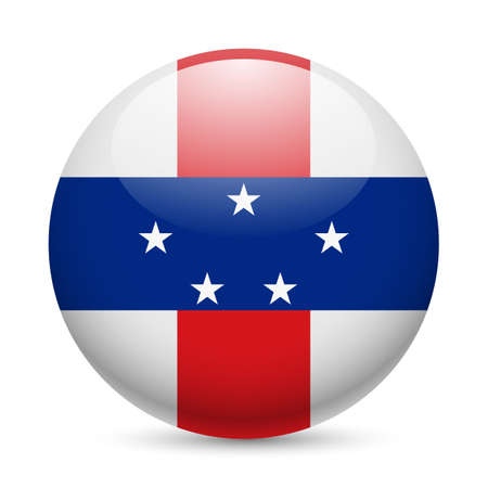antilles: Flag of Netherlands Antilles as round glossy icon. Button with flag design