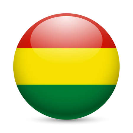 Flag of Bolivia as round glossy icon. Button with Bolivian flag Stock Vector - 29186379