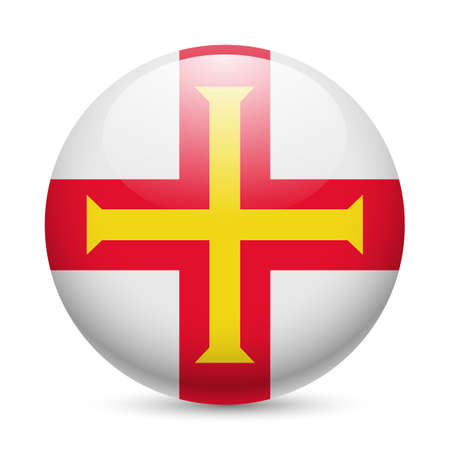 bailiwick: Flag of Guernsey as round glossy icon. Button with flag design Illustration