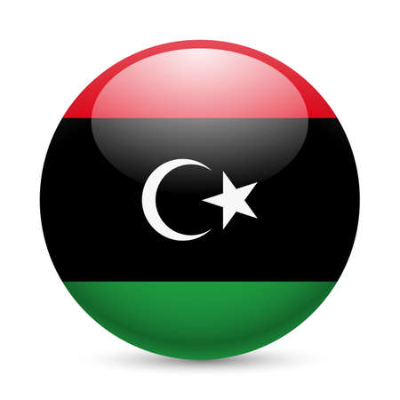 Flag of Libya as round glossy icon. Button with Libyan flag Vector