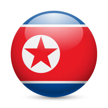 Flag of North Korea as round glossy icon. Button with North Korean flag Vector
