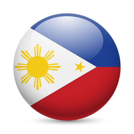 filipino: Flag of Philippines as round glossy icon. Button with Filipino flag