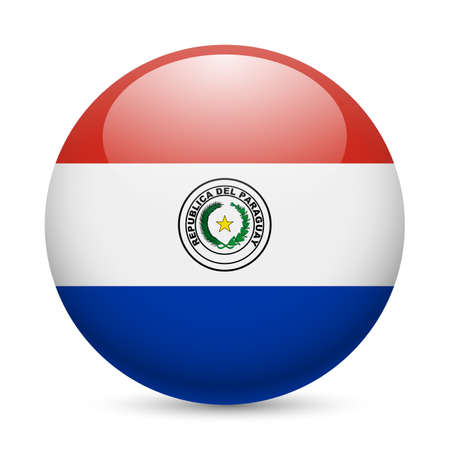 Flag of Paraguay as round glossy icon. Button with Paraguayan flag Vector