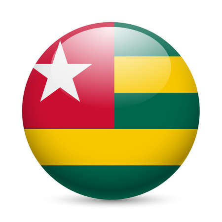 togo: Flag of Togo as round glossy icon. Button with Togolese flag Illustration