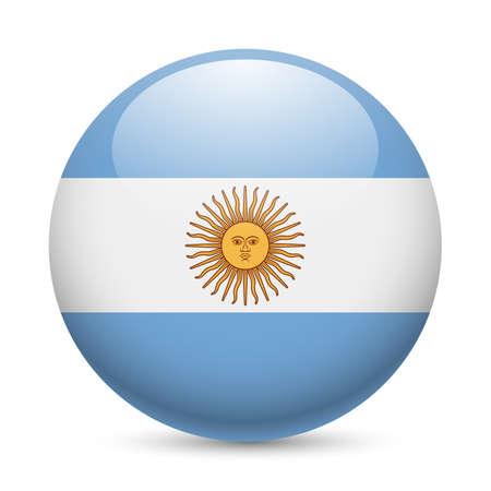Bandiera Argentina come rotondo icona lucido. Pulsante con bandiera argentina Archivio Fotografico - 29186391