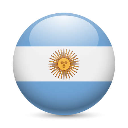 argentinian flag: Flag of Argentina as round glossy icon. Button with Argentinian flag