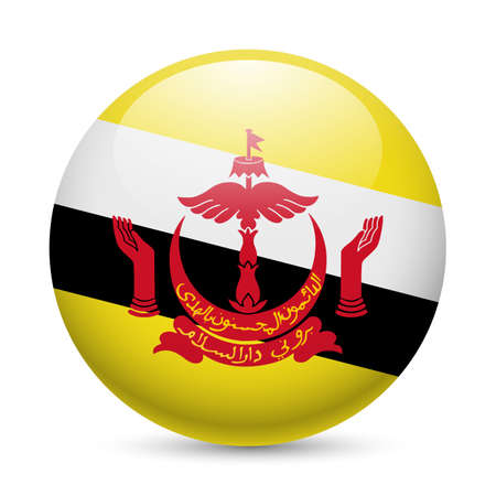 brunei: Flag of Brunei as round glossy icon. Button with Bruneian flag Illustration