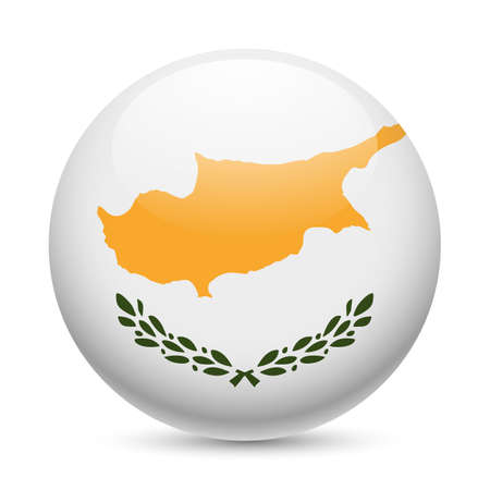 Flag of Cyprus as round glossy icon. Button with Cypriot flag Stock Vector - 29186395
