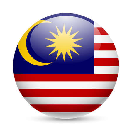 Flag of Malaysia as round glossy icon. Button with Malaysian flag Vector