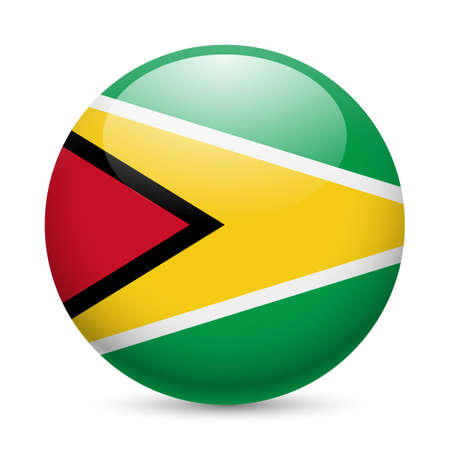 guyanese: Flag of Guyana as round glossy icon. Button with Guyanese flag Illustration