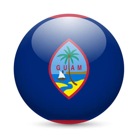 guam: Flag of Guam as round glossy icon. Button with flag design