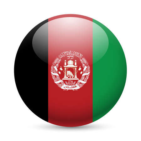 afghane: Flagge von Afghanistan als Runde gl�nzend Symbol. Button mit afghanischen Flagge