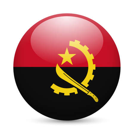 Flag of Angola as round glossy icon. Button with Angolan flag Vector
