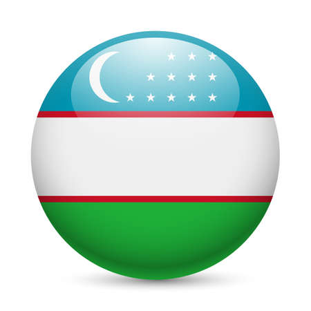 uzbekistan: Flag of Uzbekistan as round glossy icon. Button with Uzbek flag Illustration