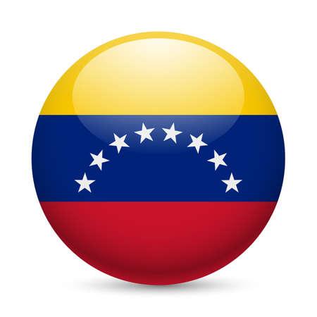 venezuelan: Bandera de Venezuela como redonda icono brillante. Bot�n con bandera venezolana