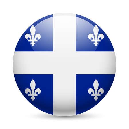 Bandiera del Quebec come rotondo icona lucido. Pulsante con bandiera disegno Archivio Fotografico - 29186407
