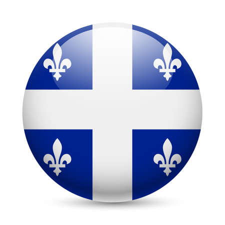 Flag of Quebec as round glossy icon. Button with flag design Illustration