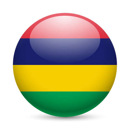 mauritius: Flag of Mauritius as round glossy icon. Button with Mauritian flag Illustration
