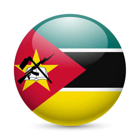 official symbol: Flag of Mozambique as round glossy icon. Button with Mozambican flag Illustration