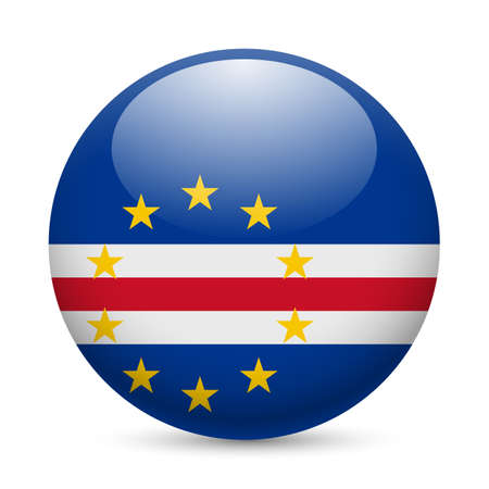 cape verde flag: Flag of Cape Verde as round glossy icon. Button with flag design