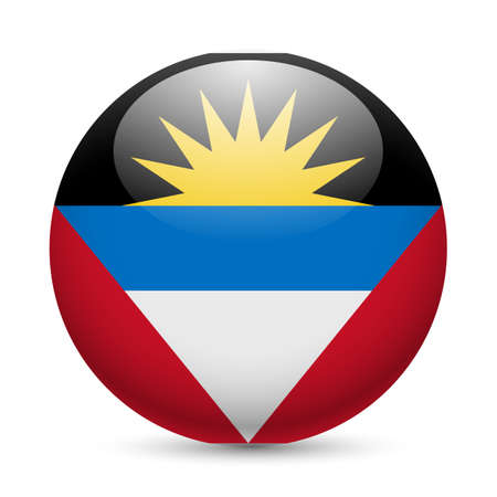 antigua: Flag of Antigua and Barbuda as round glossy icon. Button with flag design Illustration