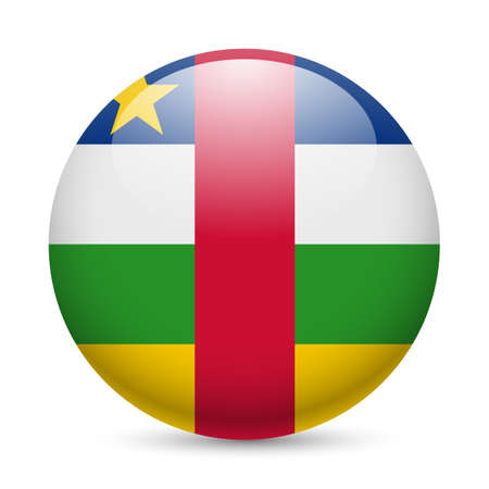 central african republic: Flag of Central African Republic as round glossy icon. Button with flag colors