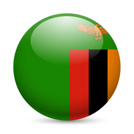 zambia: Flag of  Zambia as round glossy icon. Button with  Zambian flag