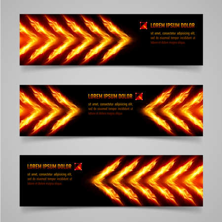 furnace: Banners with orange flaming arrows for your design