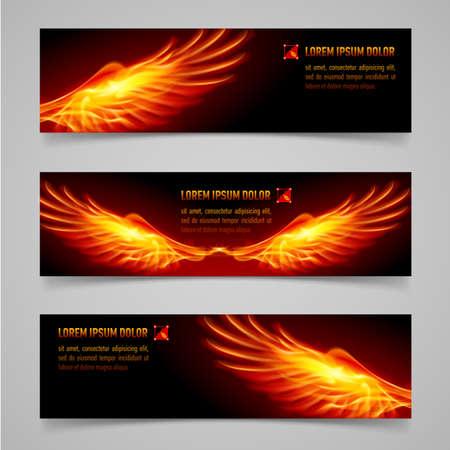 ali angelo: Bandiere arancioni mistica con le ali di fuoco per la progettazione Vettoriali