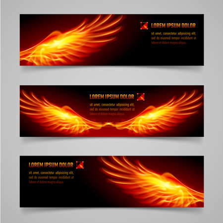 Mystic banners with orange flaming wings for your design Vector