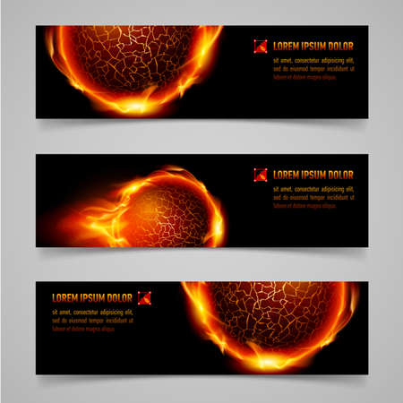 Mystic banners with orange flaming spheres for your design