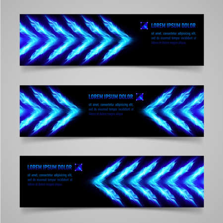 blue flame: Banners with blue flaming arrows for your design