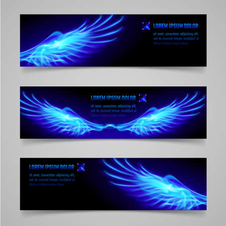 Mystic banners with blue flaming wings for your design  Illustration