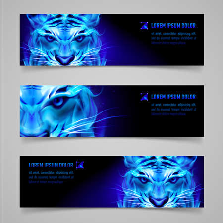 Set of banners with mystic tiger in blue flame Vector