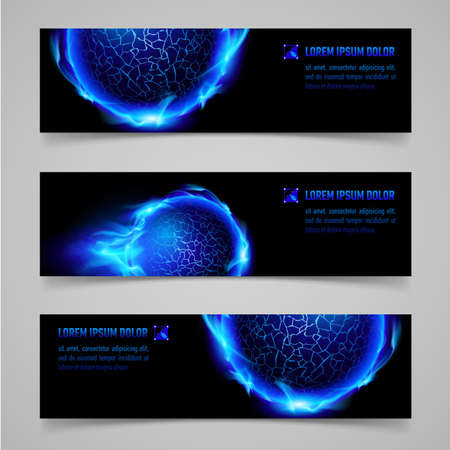blue flame: Mystic banners with blue flaming spheres for your design
