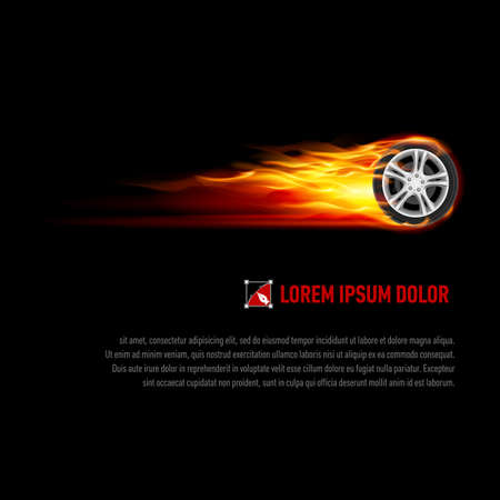 Background with wheel in orange flame for your design