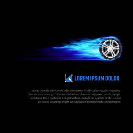 blue flame: Background with wheel in blue flame for your design