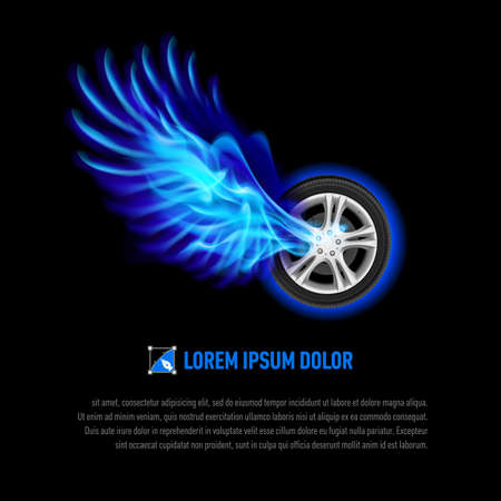 explosion engine: Powerful wheel with blue flaming wings for your design Illustration