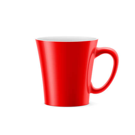 kitchen studio: Red cup with tapered bottom stay on white background