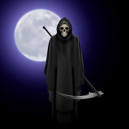 Terrifying Grim Reaper over full moon background Illustration