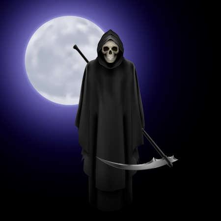 Grim Reaper: Terrifying Grim Reaper over full moon background Illustration