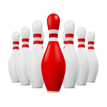 kegelen: Driehoek van witte kegelen. Eerste kegel is rood.
