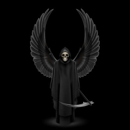 cowl: Grim Reaper with two wings up over black background