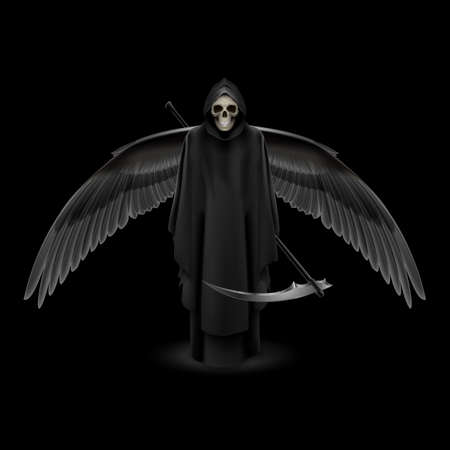 dreadful: Grim Reaper with huge wings over black background