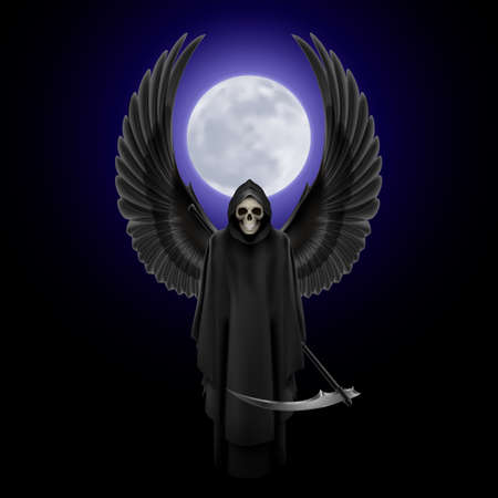 Grim Reaper with two wings up over full moon background Illustration