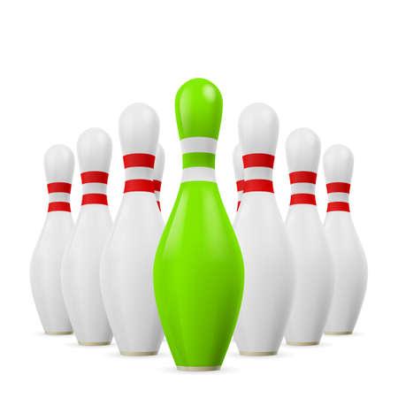 kegelen: Driehoek van witte kegelen. Eerste kegel is groen.