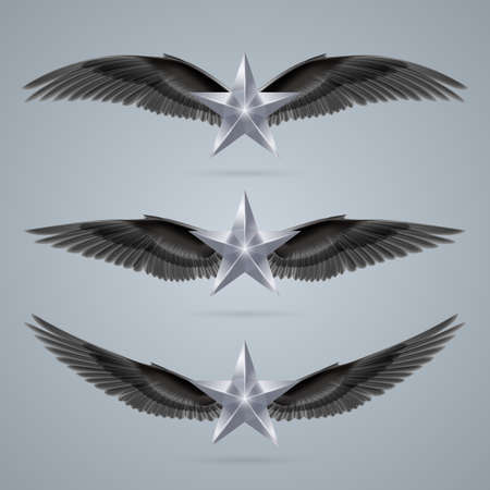 Rock star gray colour soars on the wings of music on the waves Vector